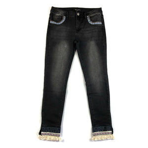 Romeo & Juliet Couture Black Tassel Trim Jeans NWT